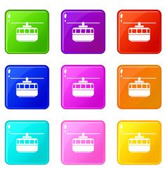 Funicular icons 9 set vector