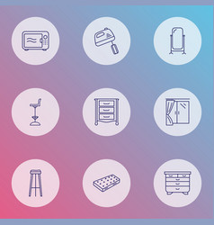 Furniture icons line style set with mixer window vector