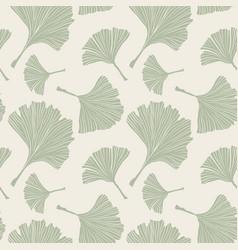 Ginkgo biloba plant line art pale sage colored vector