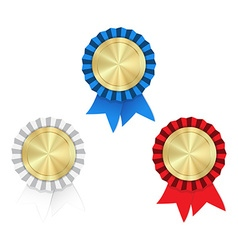 gold medals with red white and blue ribbons and vector image