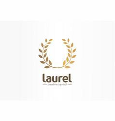 golden laurel wreath creative symbol concept vector image
