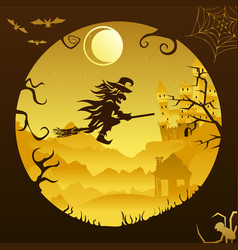 Halloween mountains broom flying witch paper light vector