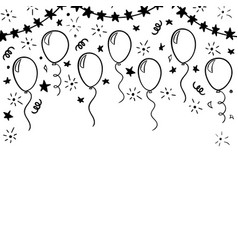 hand drawn doodle black and white balloon design vector image