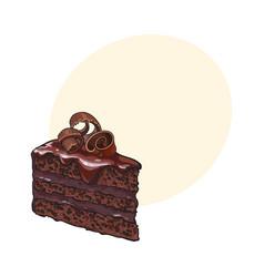 hand drawn piece layered chocolate cake vector image