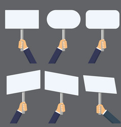 hands holding blank banner mock up vector image