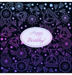 Happy birthday card with gradient poppy dandellion vector