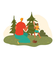 Happy father dad and child son playing together vector