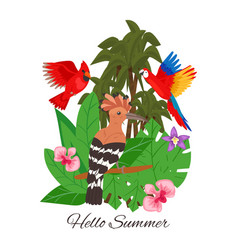 hello summer jungle design banner vector image