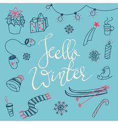 Hello winter doodles vector