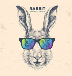 hipster animal rabbit hand drawing muzzle bunny vector image