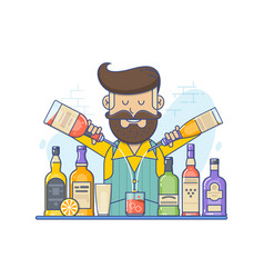 Hipster caucasian bartender with beard standing at vector