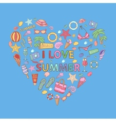 I love summer in the shape of heart vector image