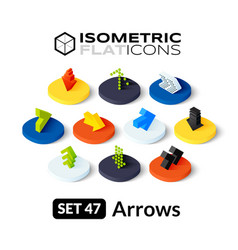 Isometric flat icons set 47 vector image