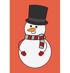 Kawaii snowman of Christmas season design vector