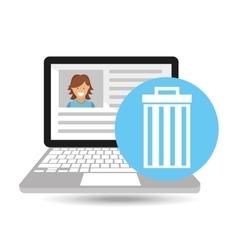 Laptop social profile e-wated vector