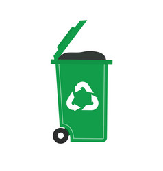 Lid opened trash can and trash on white background vector
