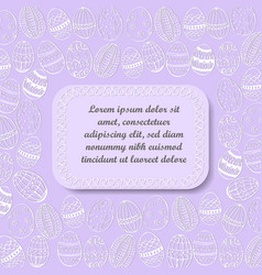 Lilac background with hand drawn easter eggs vector