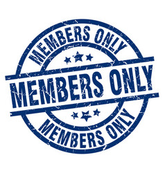 members only blue round grunge stamp vector image
