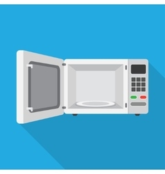 Microwave oven with the door open vector