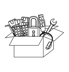 Monochrome contour with box obsolete objects vector