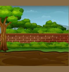 Muddy puddle on ground with natural landscape vector