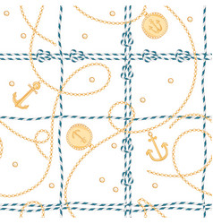 nautical seamless pattern marine rope knots chains vector image