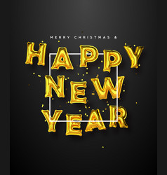 new year gold 3d party foil balloon card vector image