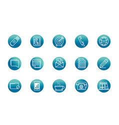 office supply equipment stationery icon set block vector image