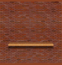 Old brick wall with wooden shelf vector