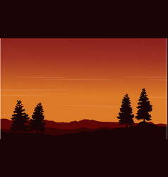 On the hill spruce scenery silhouettes vector