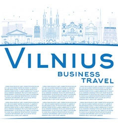 Outline Vilnius Skyline with Blue Landmarks vector image