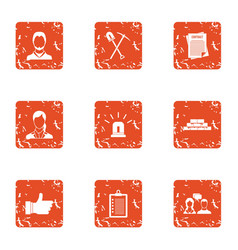 Ownership icons set grunge style vector