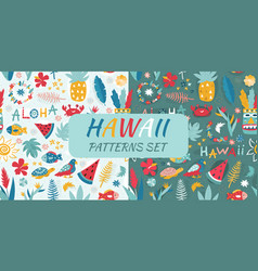 patterns set with hawaii vector image