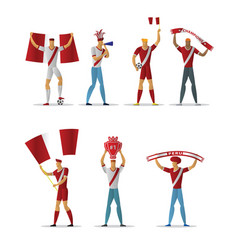 peru football fans cheerful soccer supporters vector image