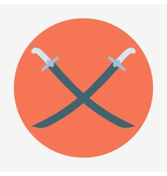 Pirate theme icontwo crossed sabers Flat vector