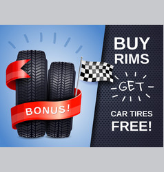 Realistic car tires ad poster vector