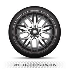 Realistic silver black alloy car wheel tire vector