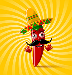 red chilli pepper character with sombrero hat on vector image