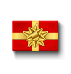 red gift box top view gold ribbon bow 3d vector image