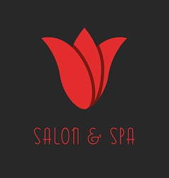 Red tulip logo beauty flower design salon emblem vector