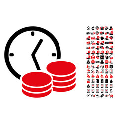 Regular income clock icon with 90 bonus pictograms vector