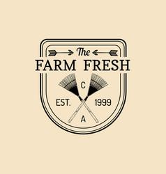 retro farm fresh logotype organic quality vector image