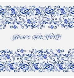 Seamless pattern frame in gzhel style Background vector