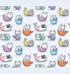 seamless pattern with cats mermaid in kawaii style vector image