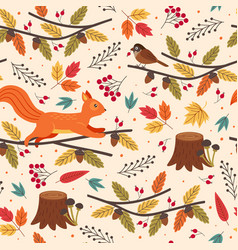 seamless pattern with hedgehog and autumn elements vector image