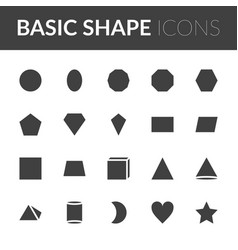 Set basic shape icons solid color shape vector
