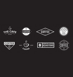 set coffee label different logo badge emblem vector image