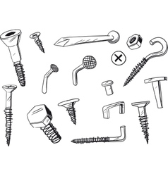 set fasteners vector image