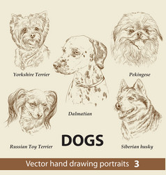 set hand drawing dogs 3 vector image
