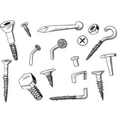 Set of fasteners vector
